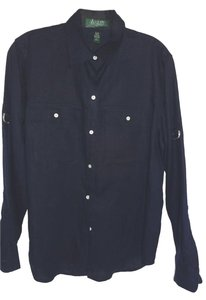 Lauren Ralph Lauren Linen Long Sleeve Button Down Shirt NAVY