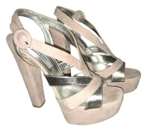Prada pink and silver Platforms