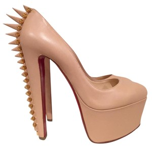 Christian Louboutin Electropump Spike Leather Platform Stiletto nude Pumps