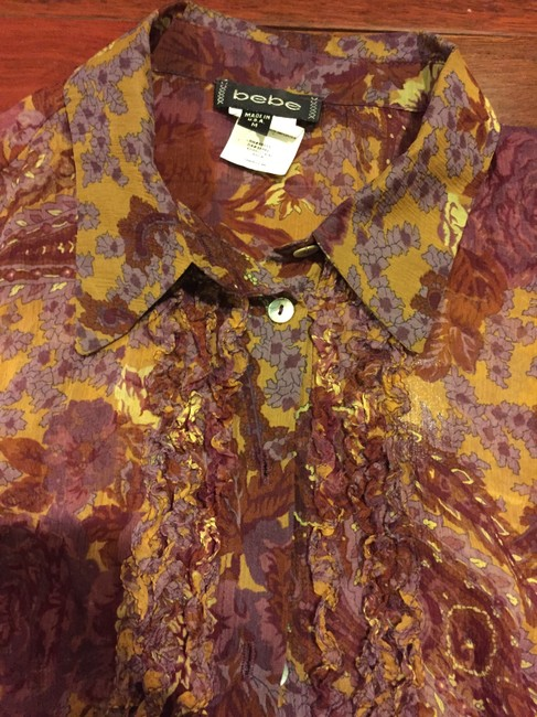 bebe Top Multicolored - burgundy, purple, tan, gold.