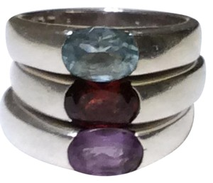 Three Sterling Silver Rings With Semi Precious Stones