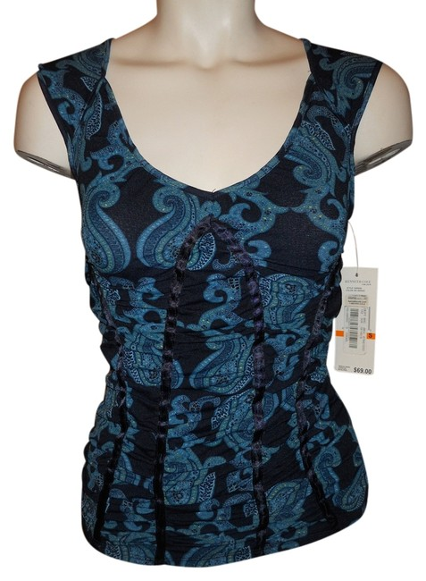 Preload https://img-static.tradesy.com/item/199696/kenneth-cole-black-and-blue-print-sp-night-out-top-size-petite-4-s-0-0-650-650.jpg