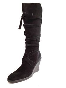 Enzo Angiolini Suede Zip Wedge Black Boots