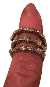 Judith Ripka tri set gold and diamond rings