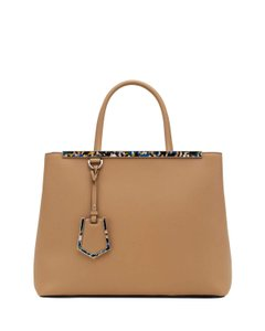 Fendi 2jours Leather Tote in camel