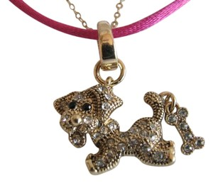 Betsey Johnson Betsey Johnson Pink Cord Crystal Dog With Bone Pendant Necklace