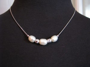 Other Sterling Silver Bead Genuine PEARL Necklace