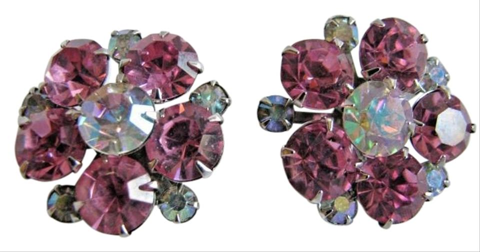 Albert Weiss Vintage Signed Ab Pink Rhinestone Flower Clip Earrings
