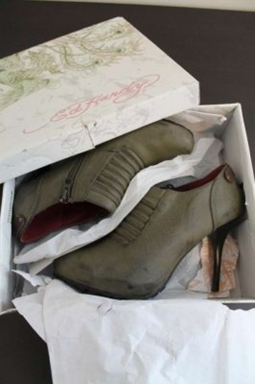 Ed Hardy Ankle Pumps Lightweight Tattoo Military Green Boots