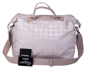 8e5e3b963cb1 Chanel Travel Line Jacquard Duffle Beige Canvas Diaper Bag - Tradesy