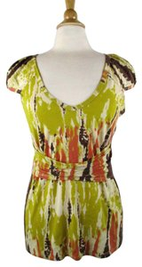 Tracy Reese Night Date Night Tie Dye Top Chartreuse, Coral, Brown