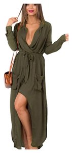 Other Cardigan Button Down Olive Green Dress