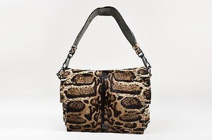 Givenchy Tan Calf Hair Animal Print Gunmetal Tone Hardware Melancholia Shoulder Bag