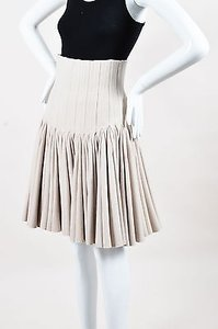 ALAA Alaia Wool Cashmere High Waist Pleated Flared Skirt Beige