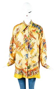 Herms Hermes Yellow Red Multi Silk Top Multi-Color