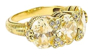 Judith Ripka Judith Ripka 18k Yellow Gold Lemon Quartz Diamond Three Stone Ring