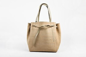 Céline Suede Croc Phantom Tote in Taupe