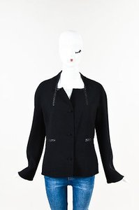 Chado Ralph Rucci Wool Leather Braided Trim Button Down Ls Black Jacket