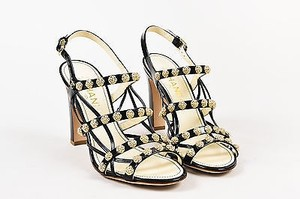 Chanel Patent Leather Camellia Flower Studded Cage Black Sandals