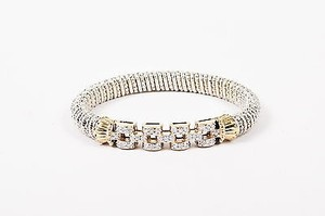 VAHAN Alwand Vahan Sterling Silver 14k Gold Diamond Chain Bar Bracelet