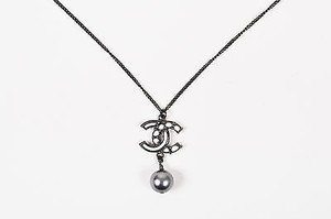 Chanel Chanel 12a Black White Gray Enamel Faux Pearl Cc Logo Pendant Necklace