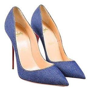 Christian Louboutin Denim White Leather Heel So Kate Pointy Blue Pumps