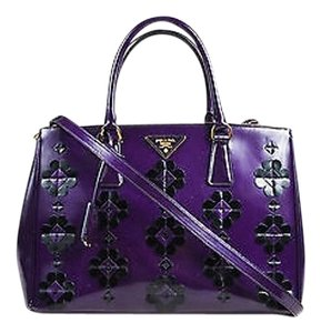 Prada Leather Floral Applique Spazzolato Bauletto Tote in Purple, Black, Gold-Tone Hardware