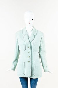 Chanel Boutique Green Tweed Cc Button Front Mint Jacket