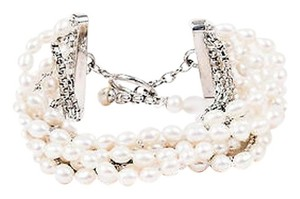 Honora Honora Sterling Silver Freshwater Pearl Row Chain Bracelet