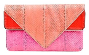 Brian Atwood Pink Colorblock Multi-Color Clutch