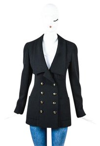 Chanel Vintage Boutique Long Double Breasted Black Jacket
