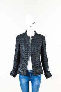 Chanel 05p Tweed Houndstooth Patterned Cc Button Black Jacket