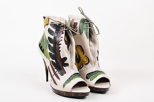 Burberry Jenkin Beige Hand Painted Lace Up Multi-Color Boots