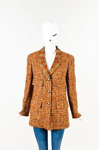Chanel Vintage Boutique Tweed Cc Buttoned Burnt Orange, Beige, Multicolor Jacket