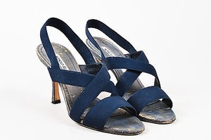 Manolo Blahnik Navy Grosgrain Blue Sandals