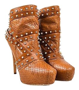Brian Atwood Snakeskin Tan Boots