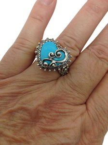 Barbara Bixby sterling silver, blue turquoise, heart shaped, designer, fashion Ring