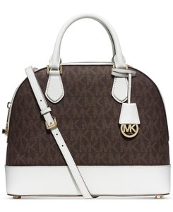 Michael Kors Smythe Large Dome Signature Leather Satchel in Brown / White