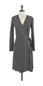 Tory Burch short dress Blue White & Black Striped Wrap on Tradesy