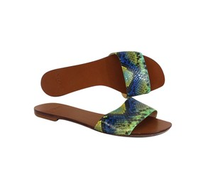Alexandre Birman Blue Green Snakeskin Print Sandals