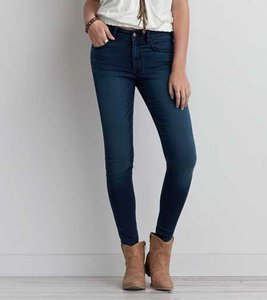 American Eagle Outfitters High Rise Dark Skinny Jeans-Dark Rinse