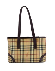 Burberry Plaid Coated Canvas Tote