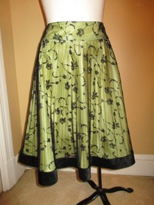 Kay Unger Pleated Embroidered Mesh Skirt black & green