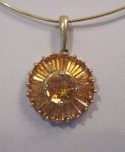 Other Citrine Checkerboard Round & Baggett Pinwheel Pendant, 10 KT YG