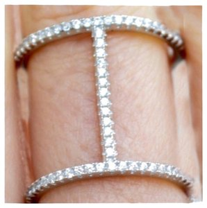 Apt. 9 Crystal Double Bar Ring, Size 8