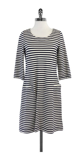 Item - Navy & Cream Striped Mid-length Short Casual Dress Size 6 (S)