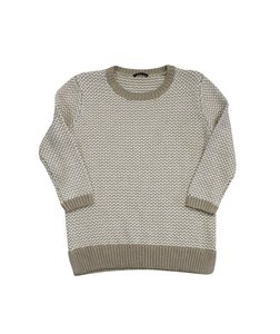 Theory White Tan Cotton Knit Sweater