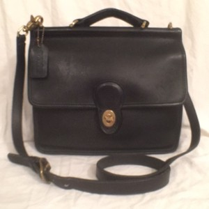 Coach Leather Vintage Cross Body Satchel in Black