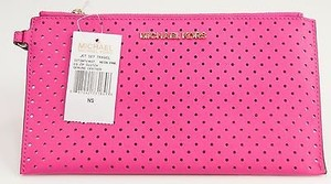 Michael Kors Neon Perforated Saffiano Leather Zip Wristlet Pink Clutch