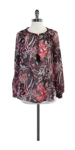 IRO Multi Color Feather Print Silk Top
